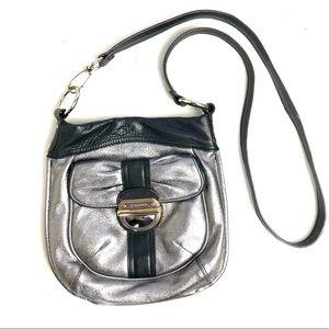 Rare! Adorable Bow on Black & Silver Crossbody Bag